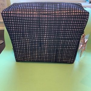 MAC COSMETIC BAG PINK AND BLACK SHIMMER NEW